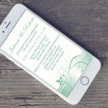 Convite Digital Casamento Menta - PROMOÇÂO