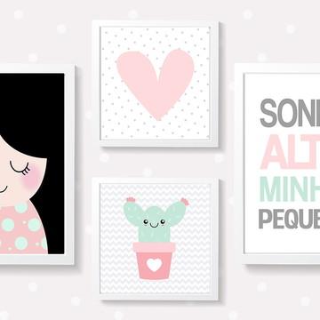 Quadros decoração bebê menina coração e cactus - A4