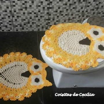 Jogo de tapete para banheiro coruja crochê (2 peças)