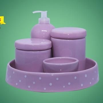 Kit Higiene Ceramica Rosa