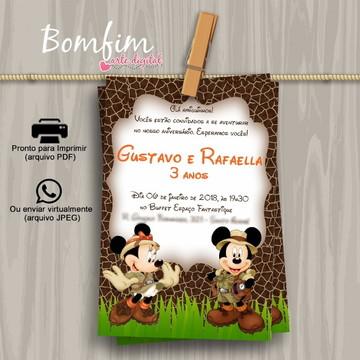 Convite Digital - Mickey e Minnie Safari
