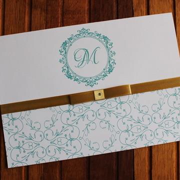 Convite 15 anos - Convite Casamento dourado tiffany