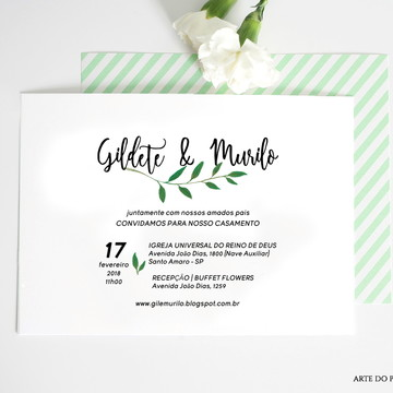 A161: Convite de Casamento Minimalista Folhas