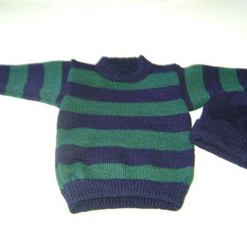 Blusa listrada menino tam 1 ano em trico