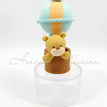 Lembrancinha Urso no Balão caixinha biscuit