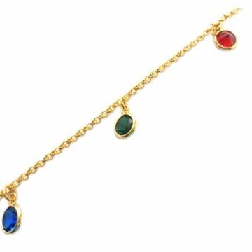 Pulseira Bracelete De Pedras Coloridas Folheado A Ouro Linda