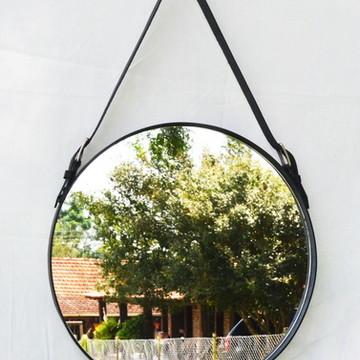 50cm - ORIGINAL Espelho Redondo Design Adnet -Couro Legítimo