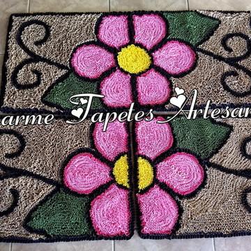 Flor rosa tapetes para decoração da cozinha frufru