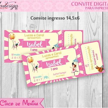 Convite Digital Circo de menina