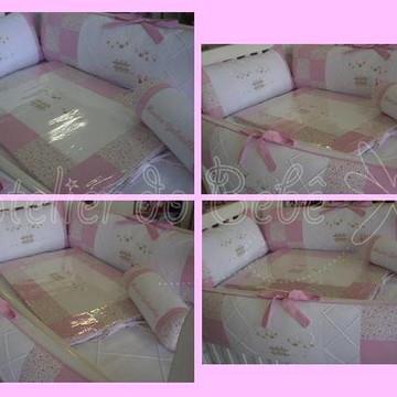 Kit para Berço Floral Rosa - Ovelhinha