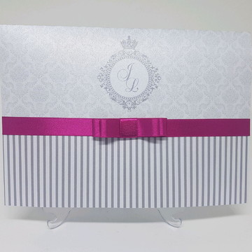 Convite aniversário prata e pink