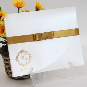 Convite Elegance - Branco e Dourado