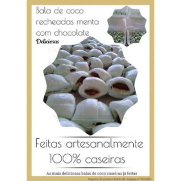 Balas de coco recheadas menta chocolate
