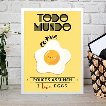 Quadro I Love Eggs 20x30cm
