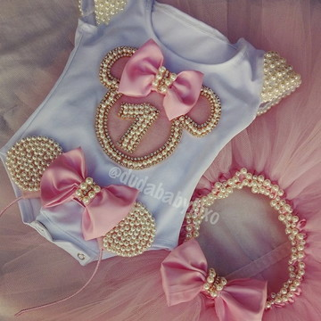 Conjunto Minnie Rosa bordado