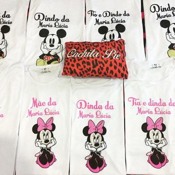 1 Camiseta - Aniversário- Minnie e Mickey