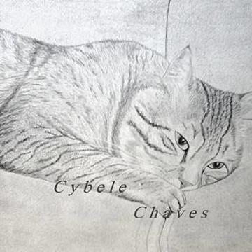 Gato no Sofá - pintura / desenho de gato
