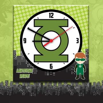 Relógio Decorativo Lanterna Verde - Decoração Super Heróis