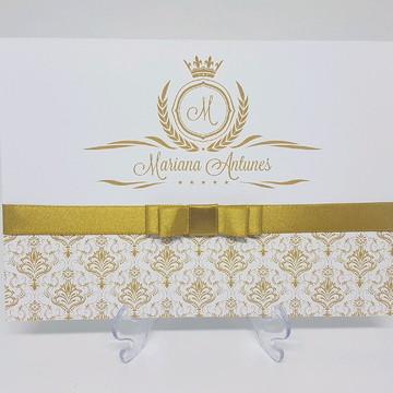Convite de aniversario dourado 15 anos