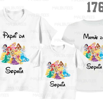 kit com 3 camisetas princesas Disney