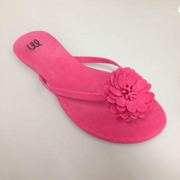 kit com 20 pares de rasteira pink com flor nobuck