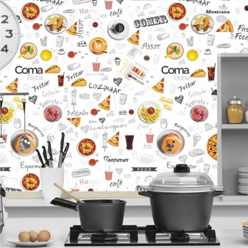 Adesivo Decorativo Cozinha De Parede Comida Lanche Food M132