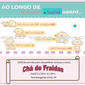 Convite Digital Chá de Fraldas ao longo de...-pronta entrega