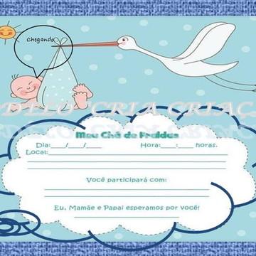 Convite Digital Chá de Fraldas Chegando...-pronta entrega-