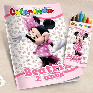 Kit colorir com giz de cera Minnie Rosa