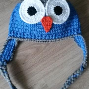 Touca de Croche corujinha azul