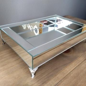 Bandeja de Espelho Prata 20 x 30 cm pés de metal