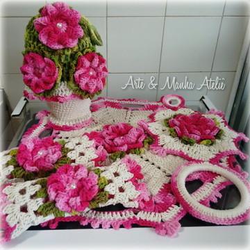 Kit para cozinha Rosa em crochê