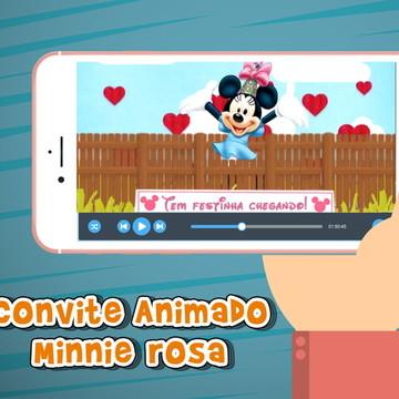 Convite Animado Minnie rosa