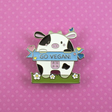 Pin/Botton/Broche de metal - Go Vegan
