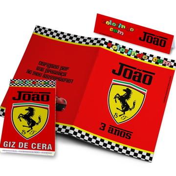 Kit Colorir Revistinha e Giz de Cera Ferrari 10x15 cm
