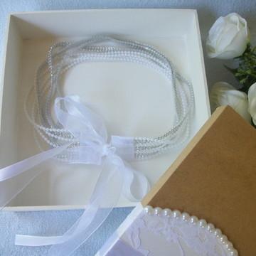 Tiara para Noivas + Caixa em MDF + Papal seda -Kit Presente
