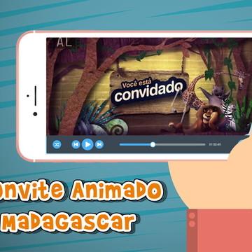 Convite animado virtual Madagascar
