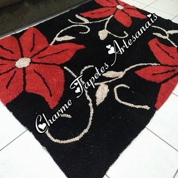 Tapete de frufru para sala flores vermelhas anti derrapante