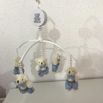 Móbile Musical Ursinho azul e prata