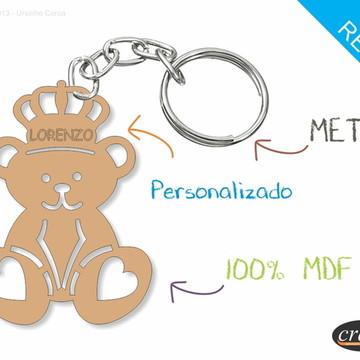 Chaveiro Personalizado Lembrancinha - Ursinho Coroa