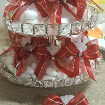 amendoas com laço e cristal casamento