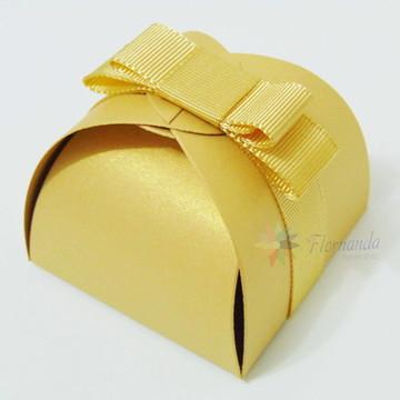 20 Embalagem Caixinhas Bem Casados Ouro Metalizado Luxo