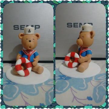 topo de bolo Urso Marinheiro em biscuit