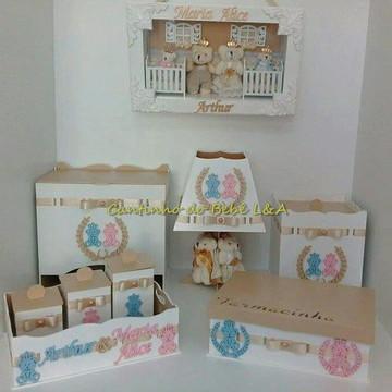 Kit Higiene + Porta Maternidade Casal de Gêmeos