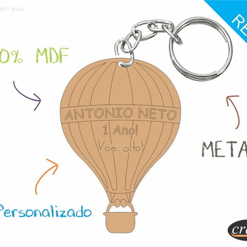 Chaveiro Personalizado Lembrancinha - Balão