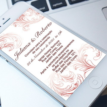 Convite Digital Casamento Marsala - PROMOÇÂO