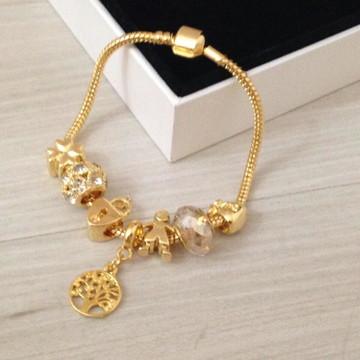 Pulseira de charmes estilo Pandora ou Vivara Banho em ouro