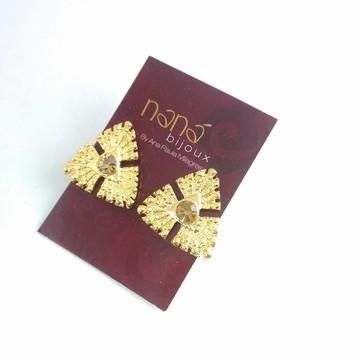 Brinco DOU Triangulo com strass - Dourado