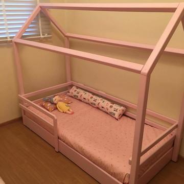 Edredom Mini Cama Rosa e Cinza