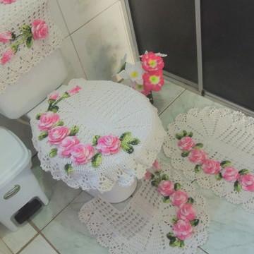Jogo de Banheiro de Croche rosas 4 peças